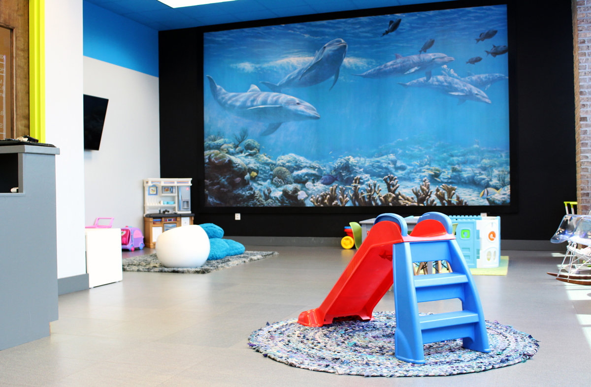 Proof Fitness supervised Kids Playrooms are beautifully designed to provide responsible fun for members' children.